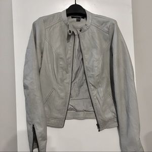 Light Grey Faux Leather Jacket